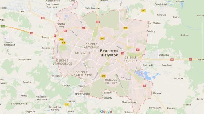Карта Белостока с улицами на русском языке